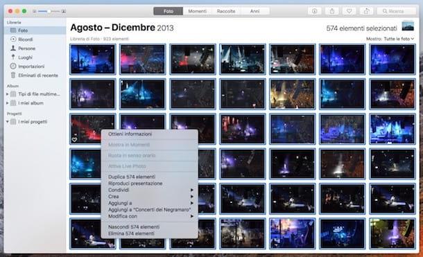 come selezionare tutte le foto in icloud